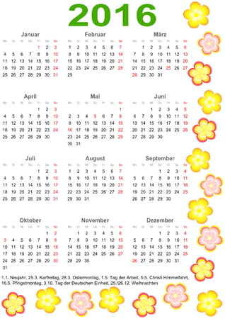 markings: Calendar 2016 with markings and a list of public holidays for Germany edged with colorful flowers