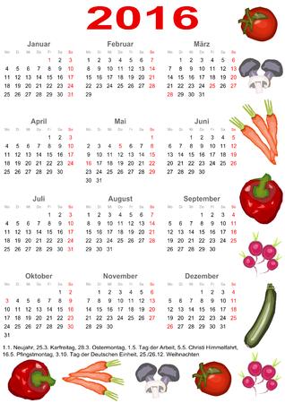 Kalender 2016 mit Markierungen und eine Liste der Feiertage für Deutschland eingefasst mit verschiedenem Gemüse