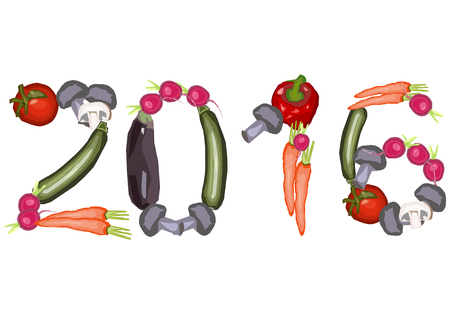 landscape format: 2016 Numbers made of various vegetables on a white background in a landscape format