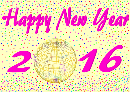 iridescent: Happy New Year 2016 with confetti and an iridescent golden ball instead of the zero in a landscape format Stock Photo