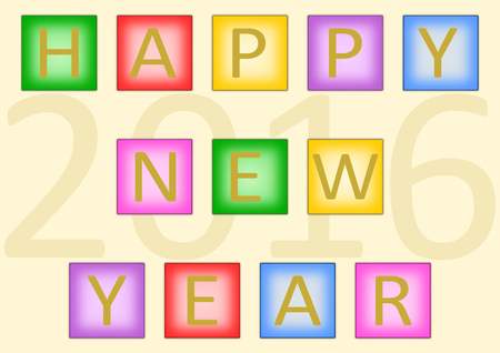 underneath: Single letters of Happy New Year on different colored squares written with the year 2016 underneath in a landscape format