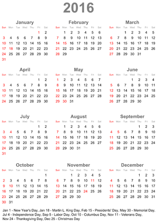 A calendar 2016 marked with the official holidays for the USA. The week starts on sunday.