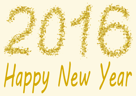 spangles: Happy New Year 2016 - the numbers of 2016 are handwritten in gold spangles