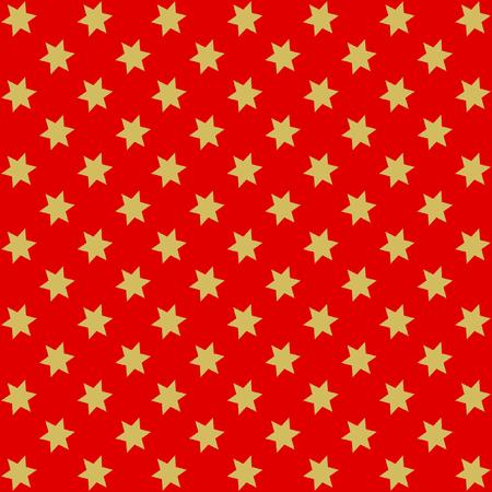 offset: Golden stars offset on red background in square format Illustration