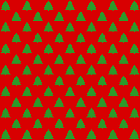 Green fir trees offset on red background in square format Çizim
