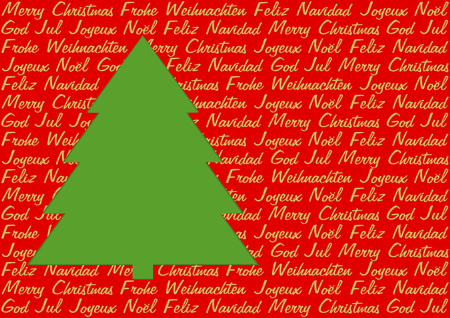 polyglot: Green Christmas tree on red background with Christmas greetings in five languages in golden letters in a landscape format