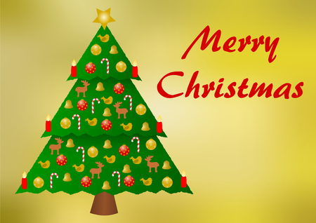 colorfully: Colorfully decorated christmas tree on a golden gradient background with Merry Christmas lettering on the right part and with a large copyspace below, in a landscape format Stock Photo
