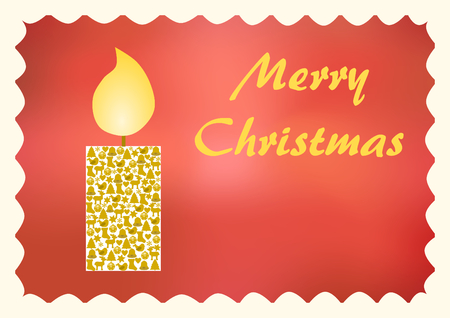 Glowing candle with Christmas symbols on a red background with Merry Christmas lettering on the right side and copyspace below and a white wavy Passepartout Stock Photo