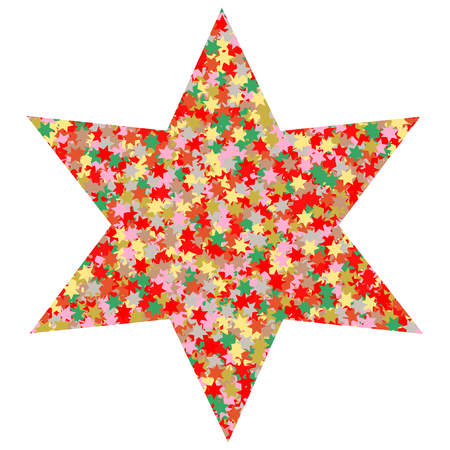 christmassy: A large star of many small colorful stars on a white background in a square format