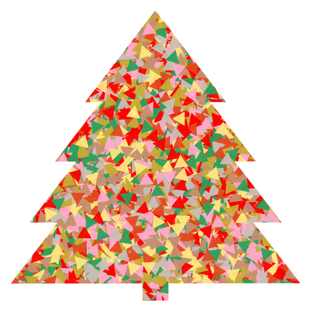 A large Christmas tree made of many colorful triangles on a white background in a square format