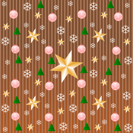 stripe pattern: Snowflakes, stars, Christmas trees and Christmas balls on stripe pattern in copper in a square format Stock Photo