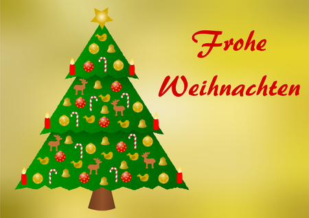 landscape format: Colorfully decorated christmas tree on a golden gradient background with Merry Christmas lettering in German on the right part and with a large copyspace below, in a landscape format