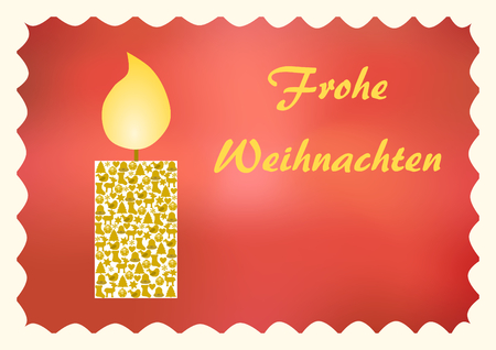 Glowing candle with Christmas symbols on a red background with Merry Christmas lettering in German on the right side and copyspace below and a white wavy Passepartout