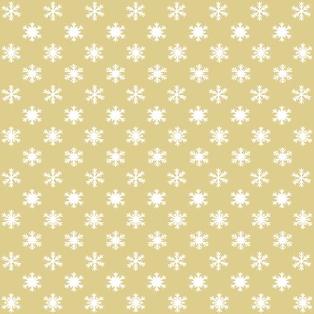 Different snowflakes in rows staggered on a gold background in a square format Çizim