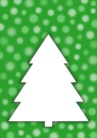 textfield: White Christmas tree on green background with transparent and blurred circles in portrait format with a large copy space