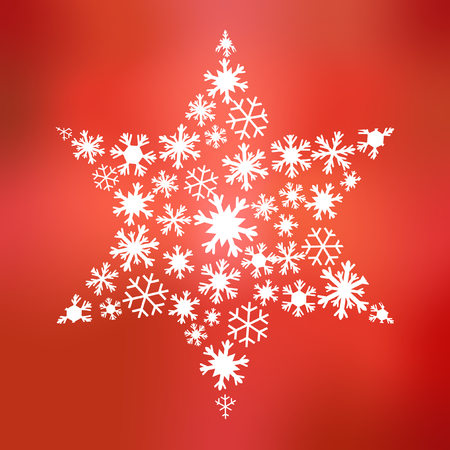 big star: Big star of different snowflakes on background in different shades of red in square format Stock Photo