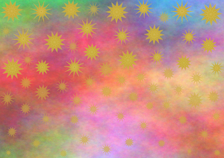 landscape format: Different gold stars on a multicolored background in landscape format