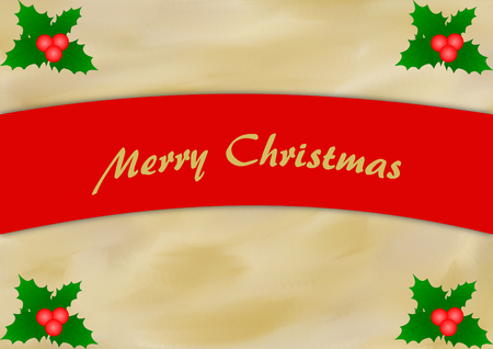 textfield: Mistletoes on gold beige painted background with a red curved text banner and Merry Christmas lettering