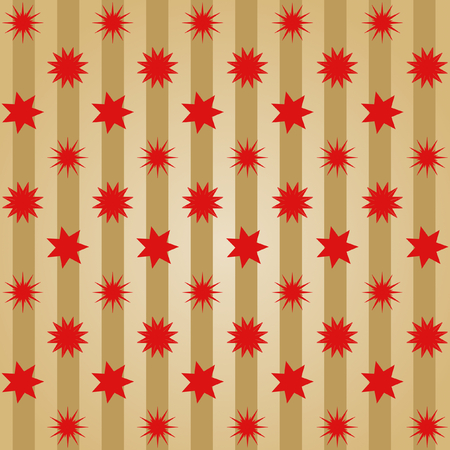 Various different red stars offset  in rows on golden stripes in a square format
