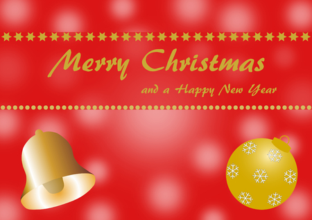 textfield: Golden christmas ball and bell on a red background with blurred circles and a textfield with Merry Christmas and a Happy New Year lettering Stock Photo