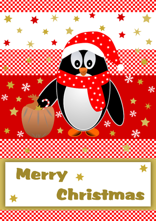 textfield: Christmas penguin with gift sack on red white checkered background with golden stars and snowflakes and Merry Christmas lettering on white below