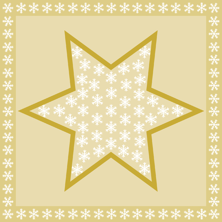 quadratic: Large golden star filled with snowflakes on a golden background, and edged with a border of snowflakes in a square format