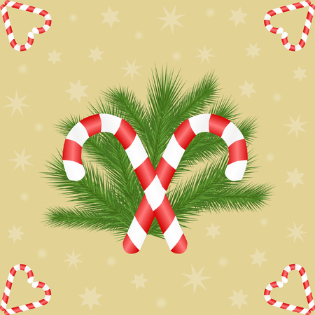 candy canes: Two candy canes opposite on fir branches in the middle and with shaped to heart candy canes in the corners on golden background with stars