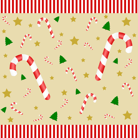 candy canes: Many candy canes on a golden background with fir trees and stars and a red and white striped top and bottom edge