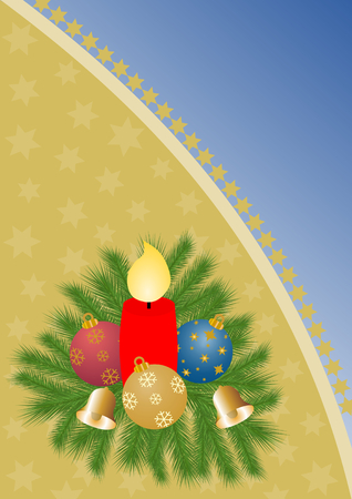 advent candles: Fir branches with burning red candle and colorful Christmas balls on gold with stars on the left side, separated with golden stars a large copy space on a blue gradient on the right side