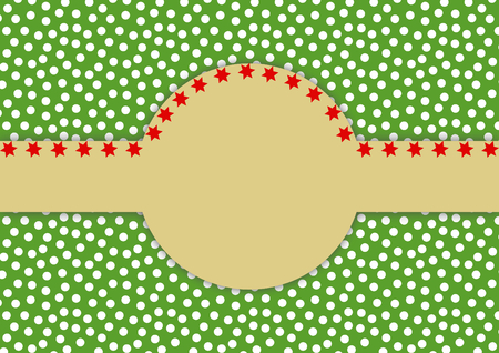 textfield: White dots on green with a large copy space centrally which is edged with red stars