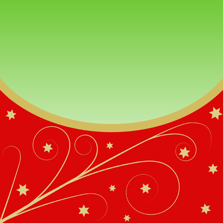 Golden Flourish pattern with stars on red in the lower part, separated by a circular golden edge, in the upper part a large copy space on green gradient