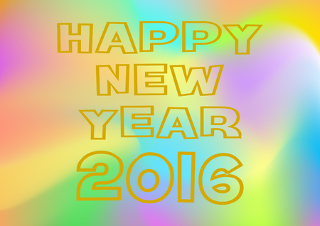 turn of the year: Happy New Year 2016 in gold lettering on a multicolored background Stock Photo