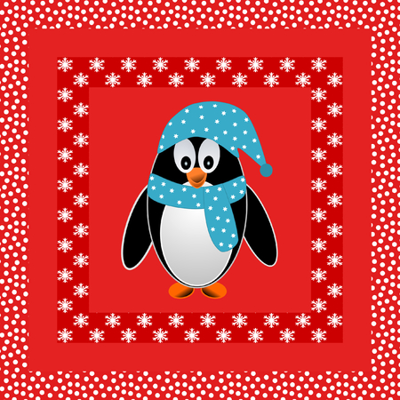 place mat: Laughing Penguin with blue scarf and hat on a red background surrounded with different snowflakes