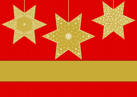 textfield: Golden stars with different patterns on red striped background with large text banner below
