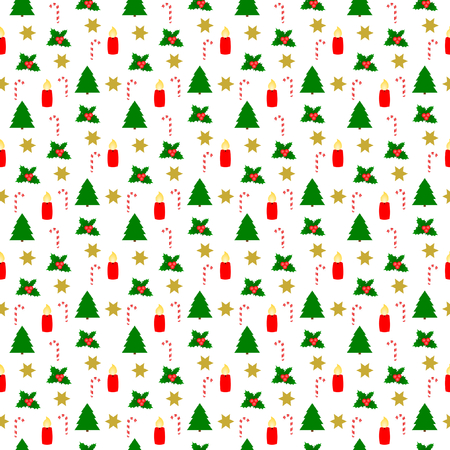 Different Christmas Symbols in seamless pattern on a white background in the square format Stok Fotoğraf