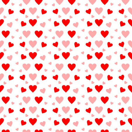 Red and pink hearts in seamless pattern on a white background in a square format