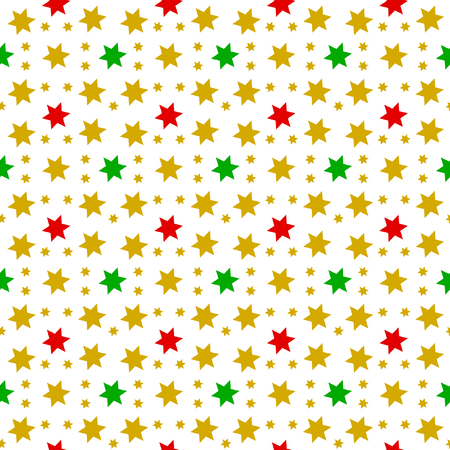 Red, green and gold stars in seamless pattern on a white background in the square format