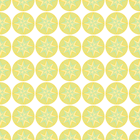 Patterned circles in green and orange in seamless pattern on a white background in the square format Stok Fotoğraf