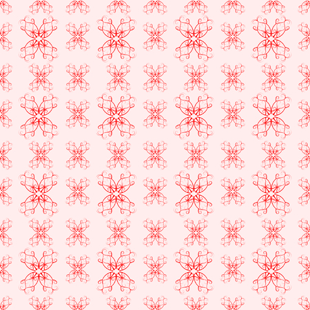 Seamless Flourish pattern in red on pink in square format
