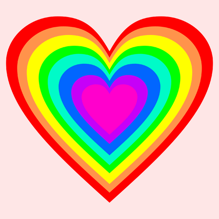 A big heart in rainbow colors on pink background