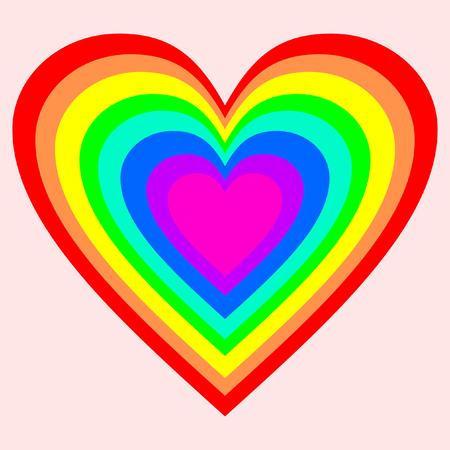 Een groot hart in regenboogkleuren op roze achtergrond Vector Illustratie