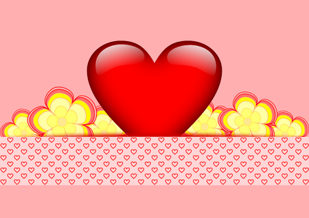 A big red, glowing heart with yellow red flowers stucked behind a heart banner with copy space