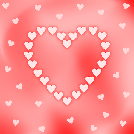 iridescent: A big heart shaped out of pink hearts on a red pink iridescent background with hearts