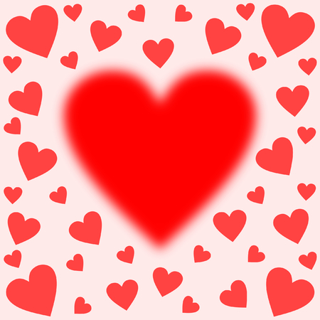 A big blurred heart centered edged with many red hearts on pink in square format