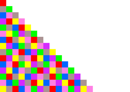 ordered: Colorful squares ordered like a staircase on the left side and with large white copy space