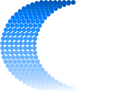 arches: Dots in the gradient from dark to light blue in half arches. Stock Photo