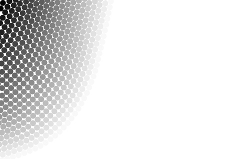 Dots in the gradient from black to light gray gapless in semi-arcs on the left Stock Photo