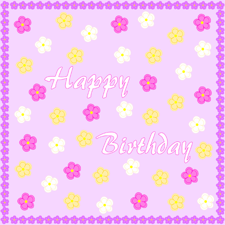 Happy Birthday on light purple with colorful flowers and edged with purple flowers Çizim