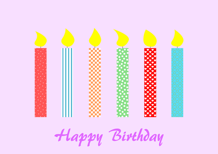 underneath: 6 patterned burning candles on light purple with Happy Birthday lettering underneath Stock Photo