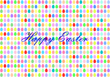 middle easter: Colorful Easter eggs in horizontal rows with the lettering Happy Easter in the middle Illustration